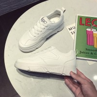 Rubber Sole Lace Closure Comfy Wear Sneakers - White