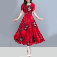 Lady Temperament Short Sleeves Round Neck Floral Dress - Red