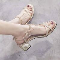 Fancy Glitter Strap Closure Buckle Luxury Party Wear Sandals - Golden