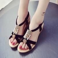 Elegant Style Pearl Flat Comfortable Sandal For Women - Black