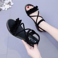 Bow Design Flat Bottom Casual Wear Women Sandal - Black