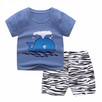 Cartoon Printed Round Neck Kids Matching Sets - Royal Blue