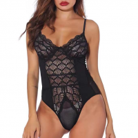 Textured See Through Bodyfitted Slim Bodysuit - Black