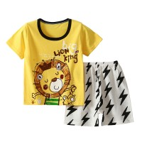 Lion Cartoon Printed Round Neck Kids Matching Sets - Black Yellow