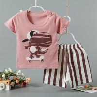 Cartoon Printed Round Neck Kids Matching Sets - Pink Multicolor