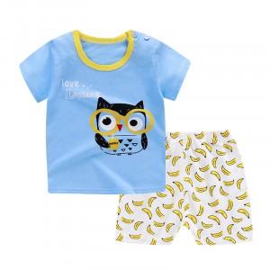 Owl Printed Round Neck Kids Matching Sets - Sky Blue