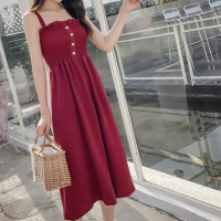 Solid Color Strap Shoulder Women Casual Dress - Wine Red
