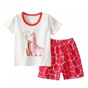 Giraffe Printed Round Neck Kids Matching Sets - Red White
