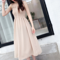 Solid Color Strap Shoulder Women Casual Dress - Beige