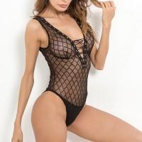 Geometric Shaped Bodyfitted Drawstring Closure Bodysuit - Black