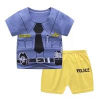 Printed Round Neck Kids Matching Sets - Blue Yellow