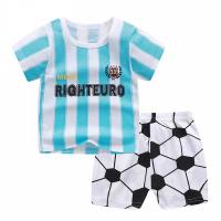 Stripes Printed Round Neck Kids Matching Sets - Blue White