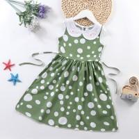 Doll Neck Sleeveless Printed Girls A-Line Dresses - Green