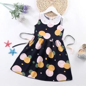 Doll Neck Sleeveless Printed Girls A-Line Dresses - Black Yellow