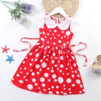 Doll Neck Sleeveless Printed Girls A-Line Dresses - Red