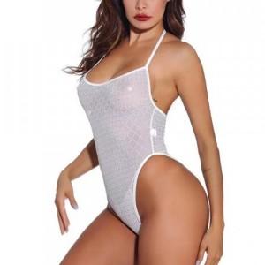 Geometric Textured Bodyfitted Slim Sexy Bodysuit - White