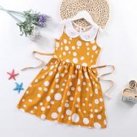 Doll Neck Sleeveless Printed Girls A-Line Dresses - Yellow