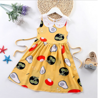 Doll Neck Sleeveless Printed Girls A-Line Dresses - Canary Yellow