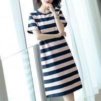 Round Neck Striped Flounce Slit T-shirt Dress - Black Pink