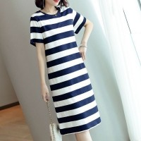 Round Neck Striped Flounce Slit T-shirt Dress - Blue White