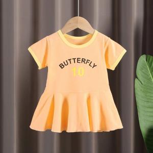 Alphabetic Printed Round Neck Cute Girl Dress - Orange