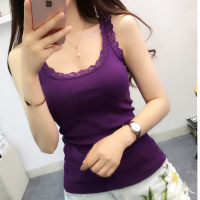 Lace Patched Body Fitted Sexy Wear Tops - Purple
