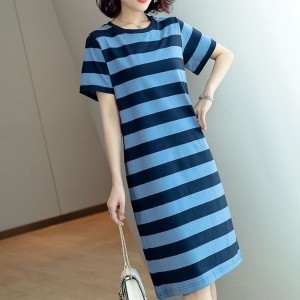 Round Neck Striped Flounce Slit T-shirt Dress - Black Blue