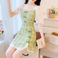Retro Style Feminine Temperament Bubble Sleeve Dress - Green