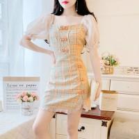 Retro Style Feminine Temperament Bubble Sleeve Dress - Apricot