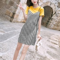 Fashion Clothing Strappy Striped Short Dress - Yellow