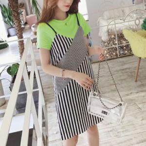 Fashion Clothing Strappy Striped Short Dress - Green