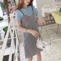 Fashion Clothing Strappy Striped Short Dress - Black Blue