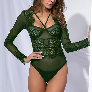 Lace Textured Full Sleeves See Through Bodysuit - Green