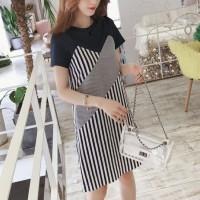 Fashion Clothing Strappy Striped Short Dress - Black