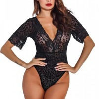 Floral Textured Body Fitted Slim Wear Bodysuit - Black