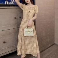 Square Collar Plaid Bubble Sleeve Temperament Dress - Brown