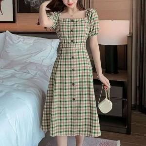 Square Collar Plaid Bubble Sleeve Temperament Dress - Green