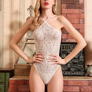 Halter Neck Textured Slim Fit Sexy Wear Bodysuit - White