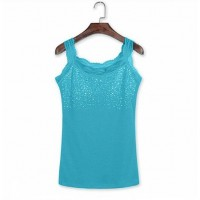 Sequins Decorative Sleeveless Bodyfitted Party Wear Tops - Sea Green