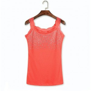 Sequins Decorative Sleeveless Bodyfitted Party Wear Tops - Light Red