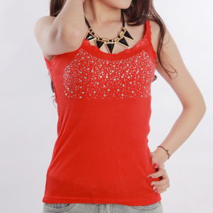 Sequins Decorative Sleeveless Bodyfitted Party Wear Tops - Red