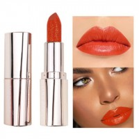 Waterproof Long Lasting Moisturizing Shiny Glitter Lipstick 05 - Orange Red