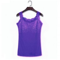 Sequins Decorative Sleeveless Bodyfitted Party Wear Tops - Dark Purple