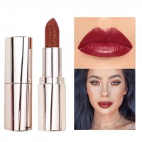 Waterproof Long Lasting Moisturizing Shiny Glitter Lipstick 04 - Burgundy