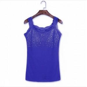Sequins Decorative Sleeveless Bodyfitted Party Wear Tops - Dark Blue