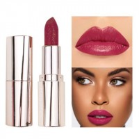 Waterproof Long Lasting Moisturizing Shiny Glitter Lipstick 02 - Wine Red