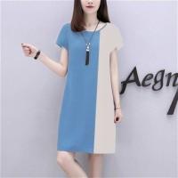Ladies Elegant Stitching Short Sleeve Dress - White Blue