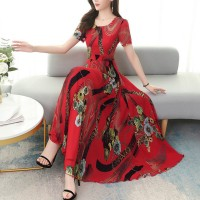 Floral Printed Short Sleeve Women Fashion Long Dress - Red