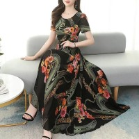 Floral Printed Short Sleeve Women Fashion Long Dress - Black