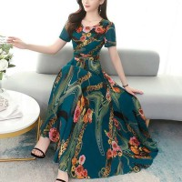 Floral Printed Short Sleeve Women Fashion Long Dress - Blue